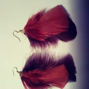 Brown and rust feather earrings